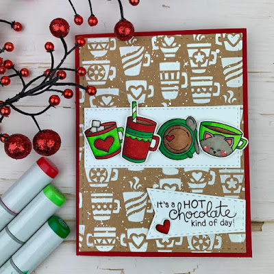 It's a hot cocoa kind of day by Meghan K. features Mugs and Cup of Cocoa by Newton's Nook Designs; #newtonsnook, #cardmaking,