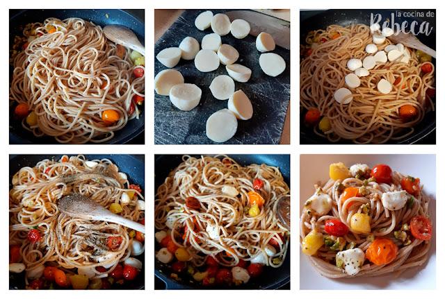 Receta de espaguetis caprese con pistachos