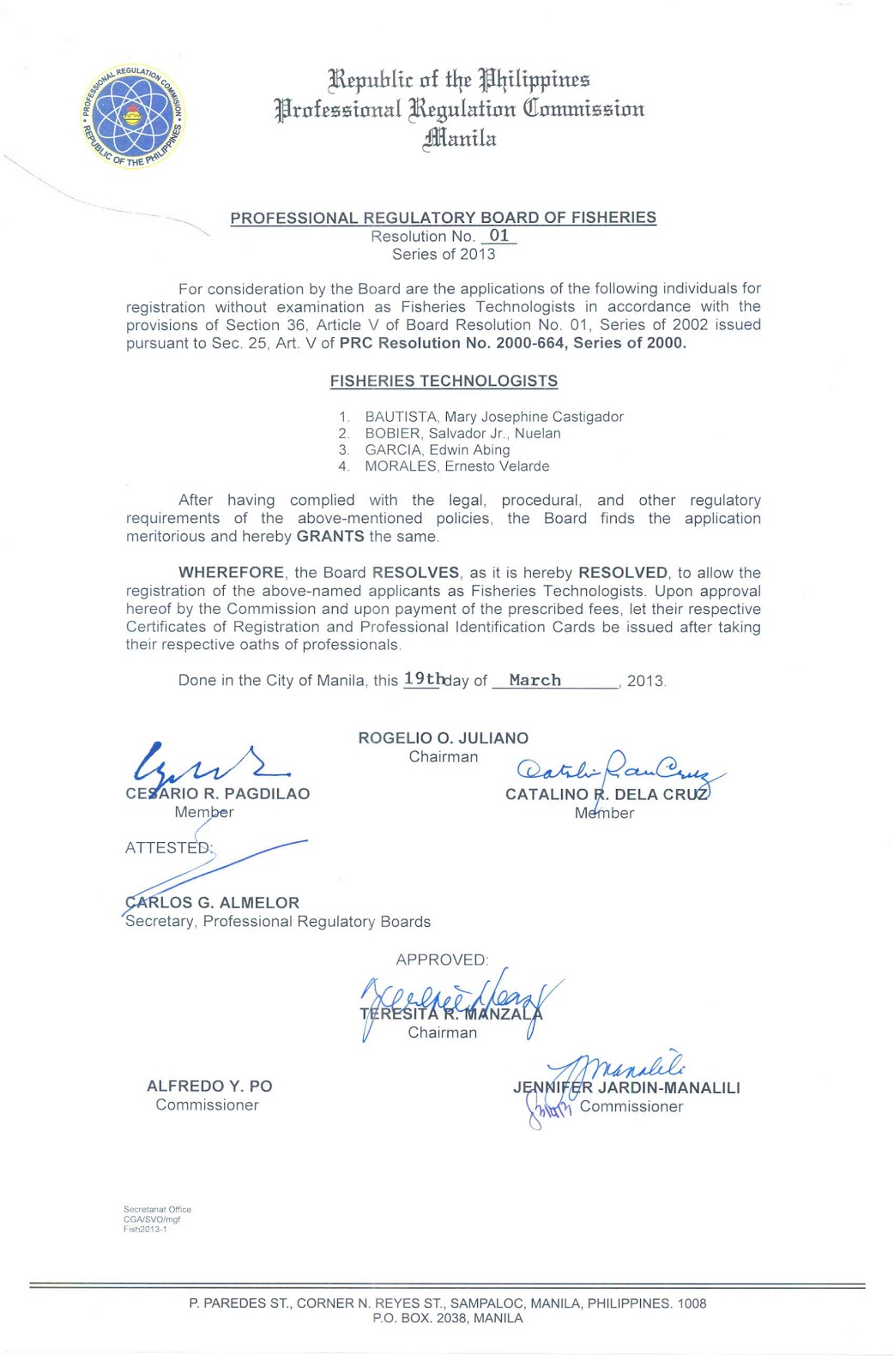 PRC Baguio Information Site: FISHERIES BOARD RESOLUTION NO ...