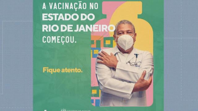 Campanha no RJ que custou R$ 13 milhões contra a Covid mostra 'médico' com máscara de cabeça para baixo
