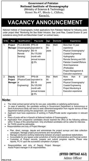 National Institute of Oceanography Jobs 2020 in Karachi