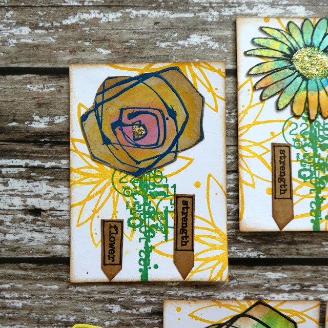 quirky rose stamp ATC