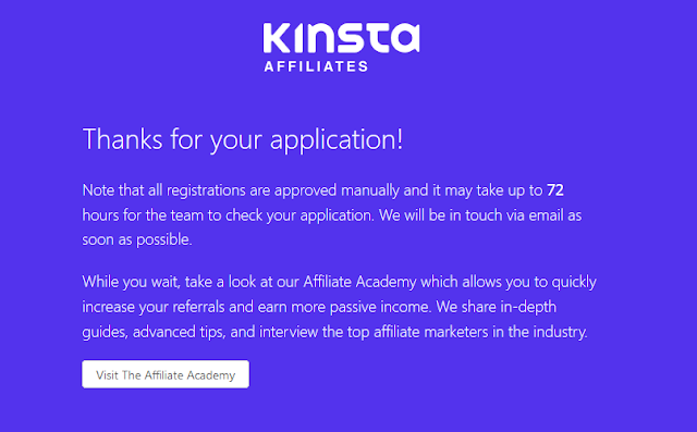 Kinsta affiliate Program Signup