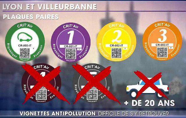 """Coleção de """"infamantes selos Crit'Air"""" na cidade de Lyon"""