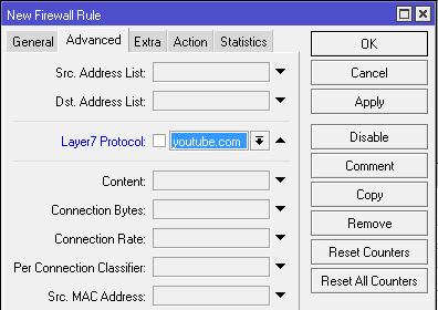 Letak matcher layer7 protocol di mikrotik