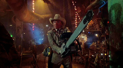 "Dennis Hopper wields a chainsaw in a ""Texas Chainsaw Massare 2"" movie scene"