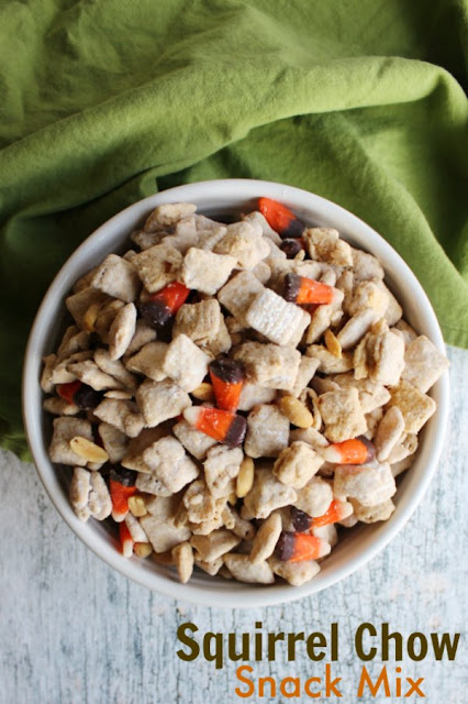 If you are looking for a fun fall treat, squirrel chow snack mix is it! It is part white chocolate puppy chow and part hillbilly hash, so it adds up to an extra tasty treat!