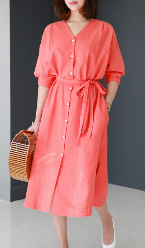 Belted V-Neck Shirt Dress