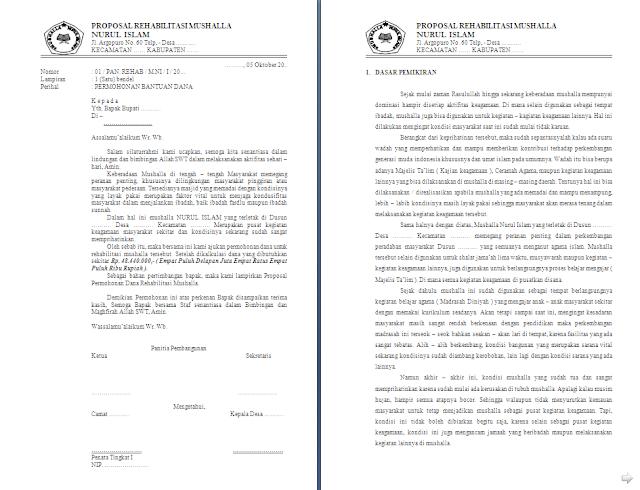 Contoh Proposal Rehabilitasi Musholla lengkap dengan RAB