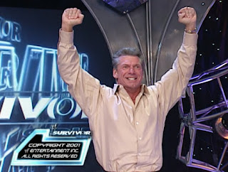 WWE / WWF Survivor Series 2001 - Vince McMahon celebrates the WWF's Victory