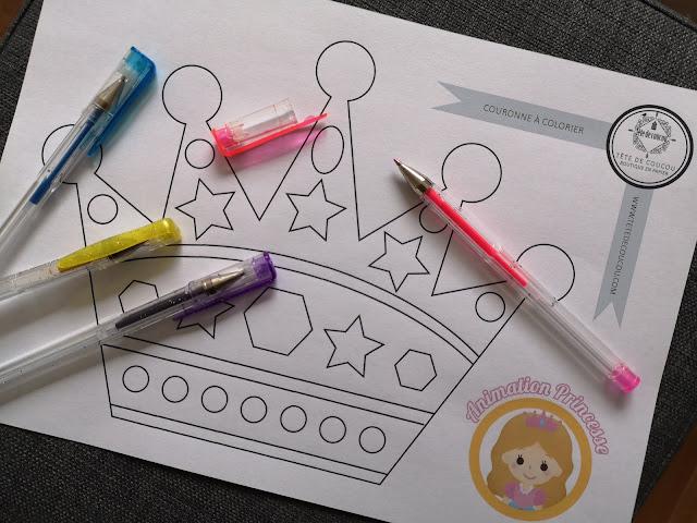 Gratuit Animation anniversaire princesse fille rose coloriage couronne à imprimer tête de coucou