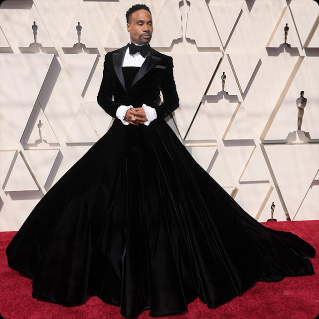 Billy Porter in tuxedo-gown of Christian Siriano Oscars 2019 by RUNWAY MAGAZINE