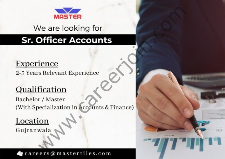 careers@mastertiles.com - Master Tiles & Ceramic Industries Ltd Jobs 2021 in Pakistan