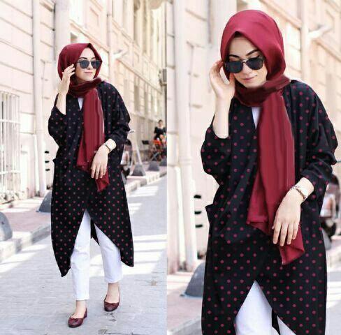 Jual Plus Jilbab / Kerudung 4 In 1 Valent Hijab Polkadot - 12945