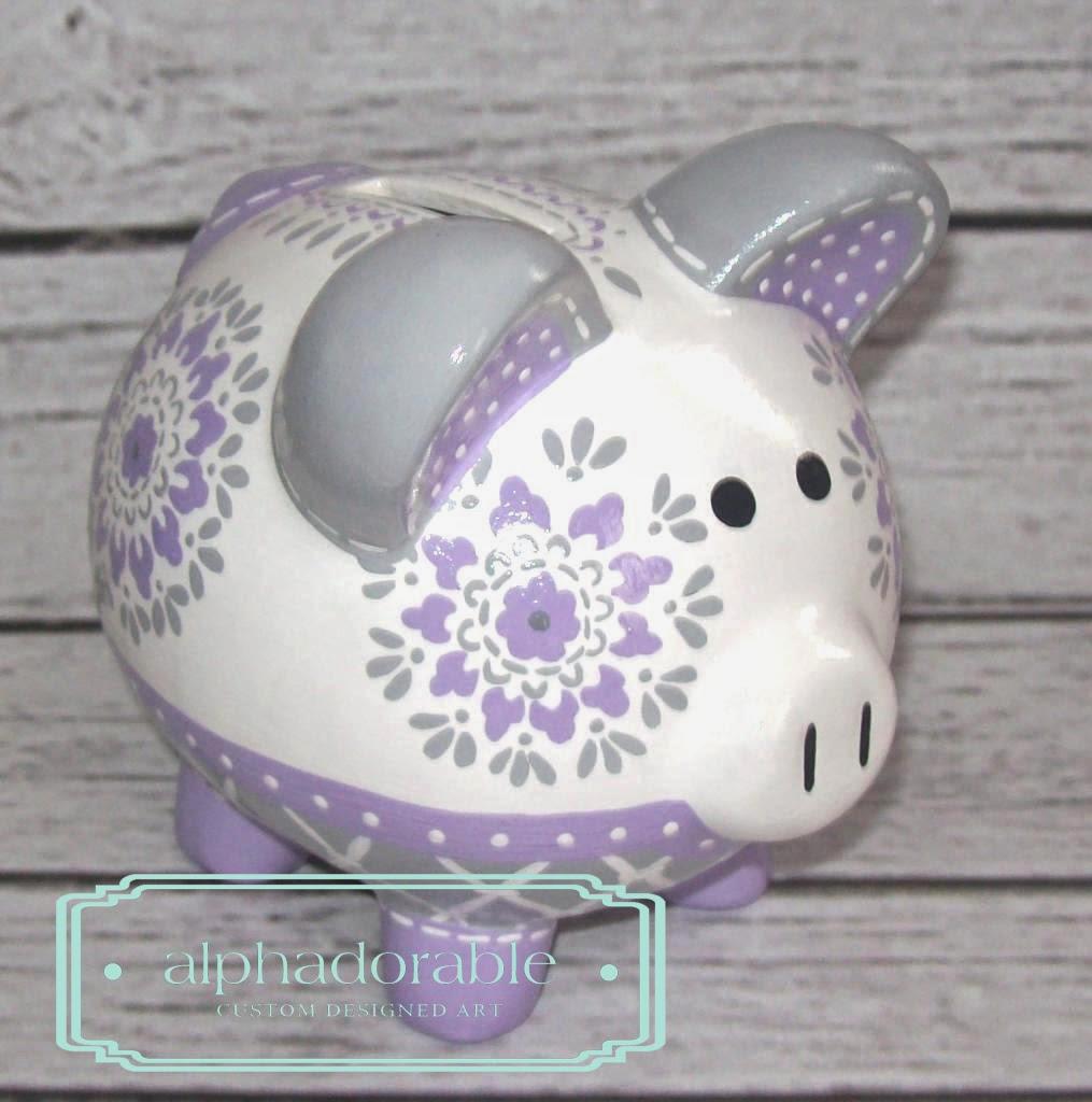 Alphadorable Custom Piggy Bank To Coordinate With Pb Kids