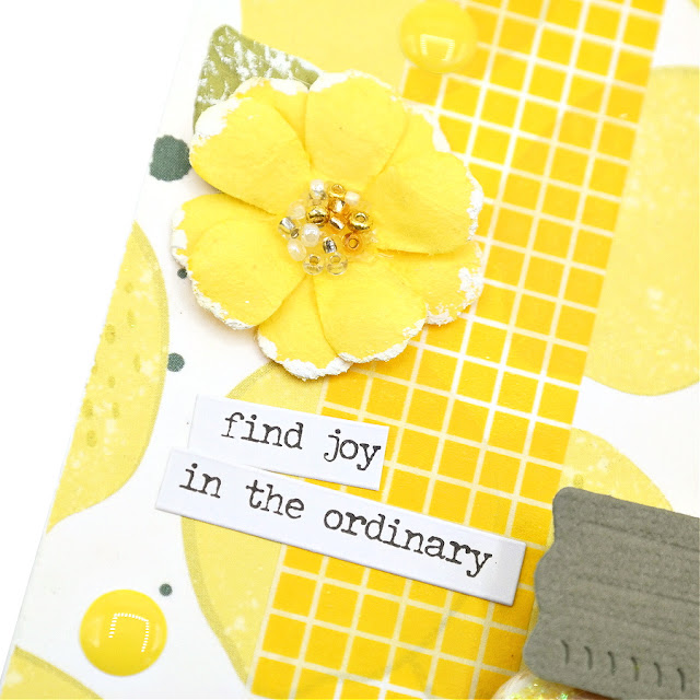 Sunny Yellow Lemonade Tag with Lemons Flowers Enamel Dots Washi Tape and a Sentiment Sticker