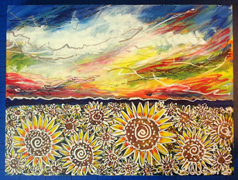 Elspeth's Field oil painting with a field of sunflowers and stormy skies above