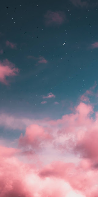 Moon in the aesthetic pink sky