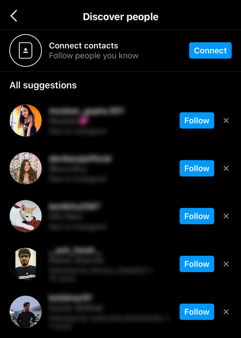 Discover people on Instagram from your contacts