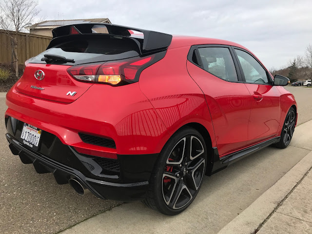 Rear 3/4 view of 2020 Hyundai Veloster N