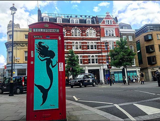 MegZany, street artist, graphic art, Los Angeles street artist, graffiti, mermaid art, Covent Garden, London