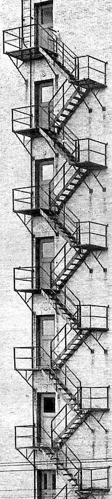Photograph of a tall fire escape