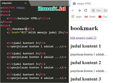 Membuat bookmark pada HTML