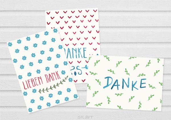 Drei illustrierte Danke-Karten