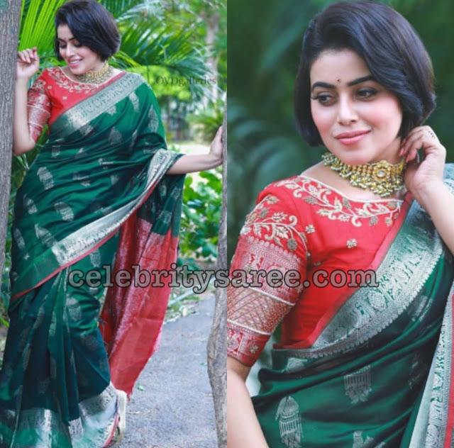 Shamna Kasim in Green Silk Saree