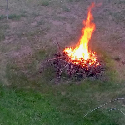 Summer Solstice brush pile burn
