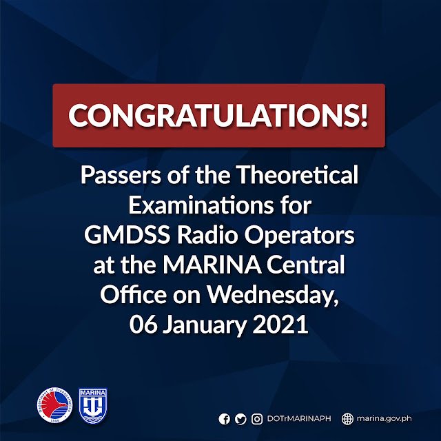 passers of the Theoretical Examinations for GMDSS Radio Operators conducted at the MARINA