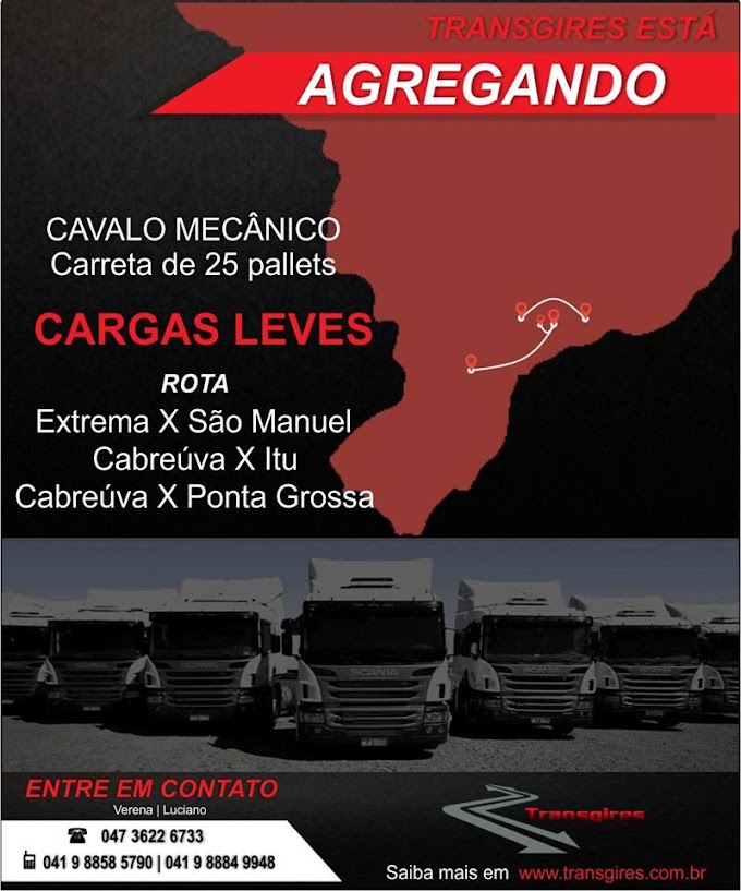 TRANSGIRES TRANSPORTE ESTÁ AGREGANDO CAVALO MECÂNICO