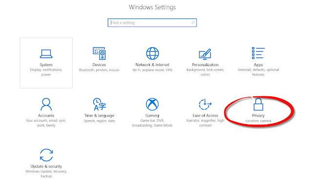 Menu Privacy Windows 10