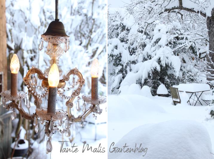 Garten mit Schnee im Winter