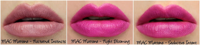 MAC MONDAY | Taste Temptation - Nocturnal Instincts, Night Blooming and Seductive Intent Mattenes Swatches & Review