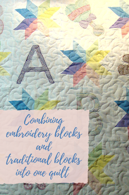 Combining embroidery blocks and pieced star blocks make a great baby quilt!