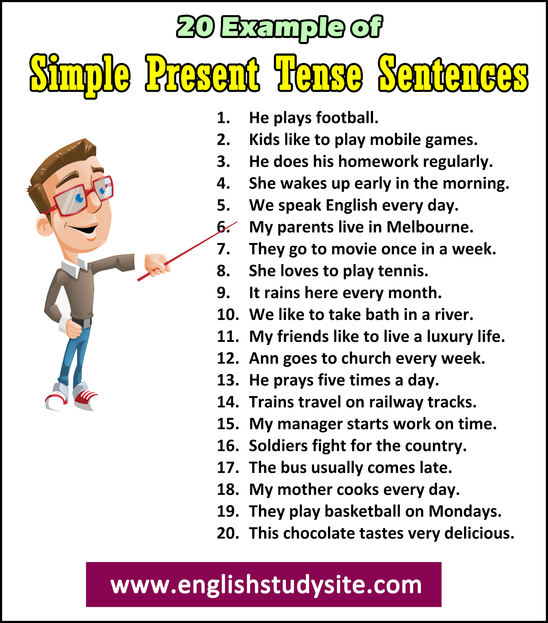 20 Example Sentences Of Simple Present Tense