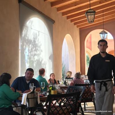 dining porch at Cello restaurant at Allegretto Vineyard Resort in Paso Robles, California