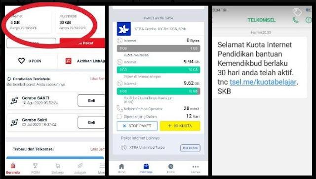 Kuota Gratis Bantuan Nadiem Makarim Sudah Cair, Ini Cara Cek Kuota Telkomsel, XL, Indosat, Tri, Axis