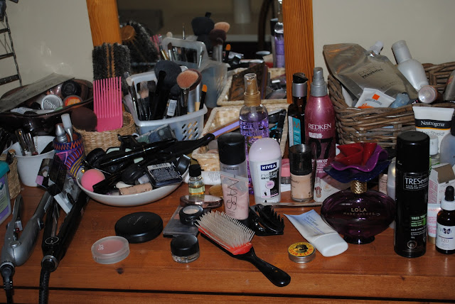 Image result for table full of makeup
