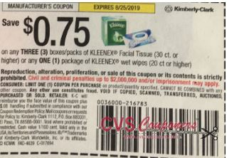 "$0.75/3 Kleenex Facial Tissue 30ct+ **OR** $0.75/1 Kleenex Wet Wipes 20ct+Coupon from ""SMARTSOURCE"" insert week of 7/28 (EXP:8/25)."