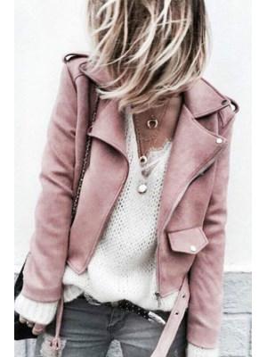 Fashion Casual Slim Plain Thermal V Collar Long Sleeve Zipper Jacket