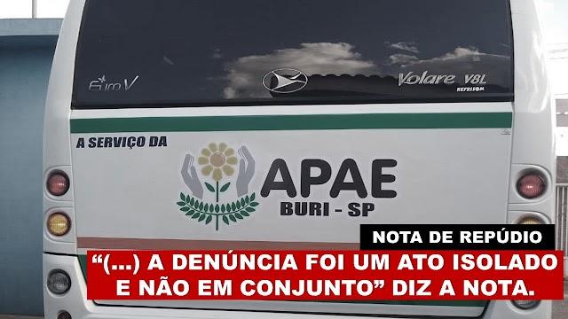 Funcionários da APAE de Buri emitem nota de repúdio à denúncia de colegas.