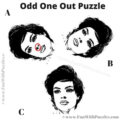 Answer of Odd one Out Face Picture Puzzle for Adults