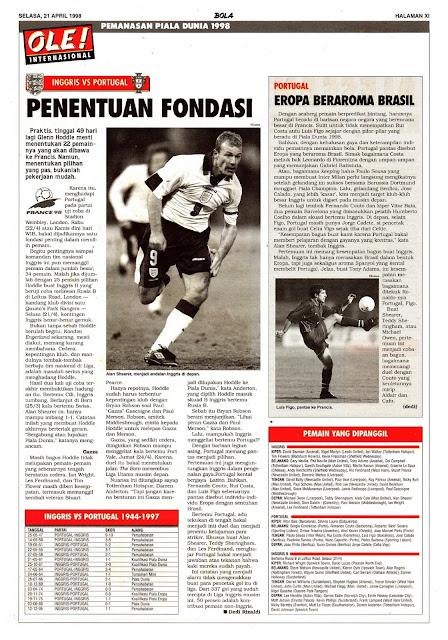 PEMANASAN PIALA DUNIA 1998: INGGRIS VS PORTUGAL