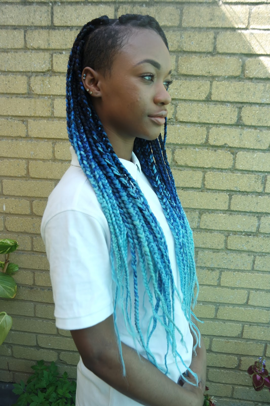 Tashika Bailey | Black, Blue and Aqua Ombre Box Braids