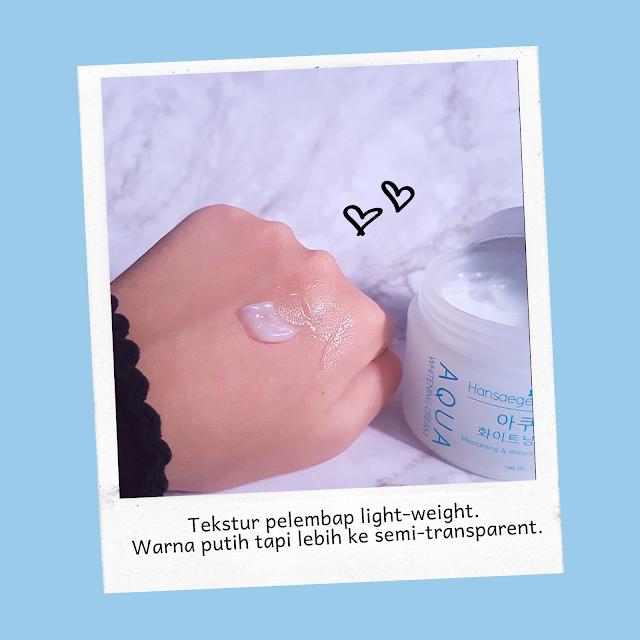 "Aqua Whitening Cream, pelembap wajah ""non-comedogenic"" dan Water Based dari Hansaegee Nature."