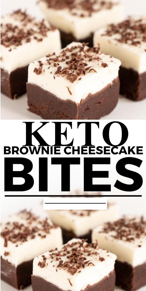 No Bake Keto Brownie Cheesecake Bites #dessertrecipes