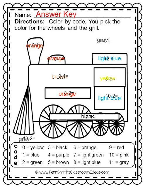 Fern Smith's Classroom Ideas  Christmas Polar Express Math Addition and Subtraction Color Your Answers Printables at TeacherspayTeachers, TpT.