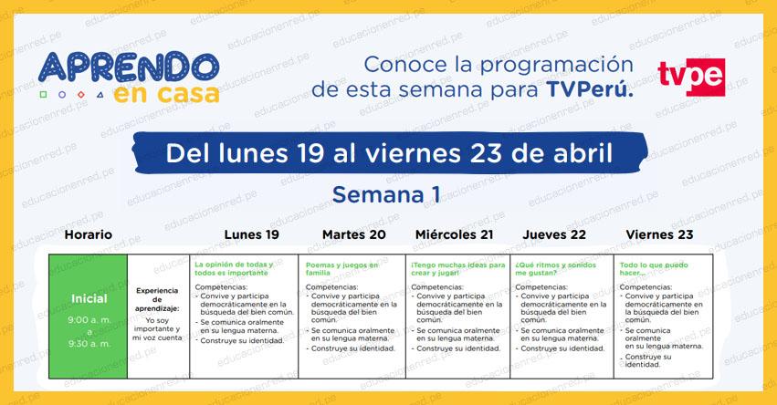 APRENDO EN CASA 2021: Programación del Lunes 19 al Viernes 23 de Abril - MINEDU - TV Perú y Radio Nacional (ACTUALIZADO SEMANA 1) www.aprendoencasa.pe